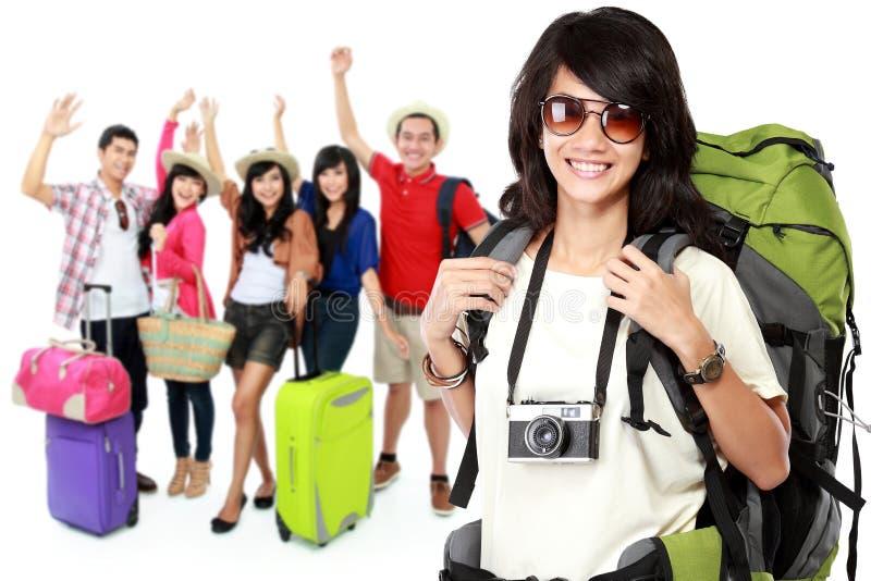 Viajante asiático entusiasmado feliz imagens de stock royalty free