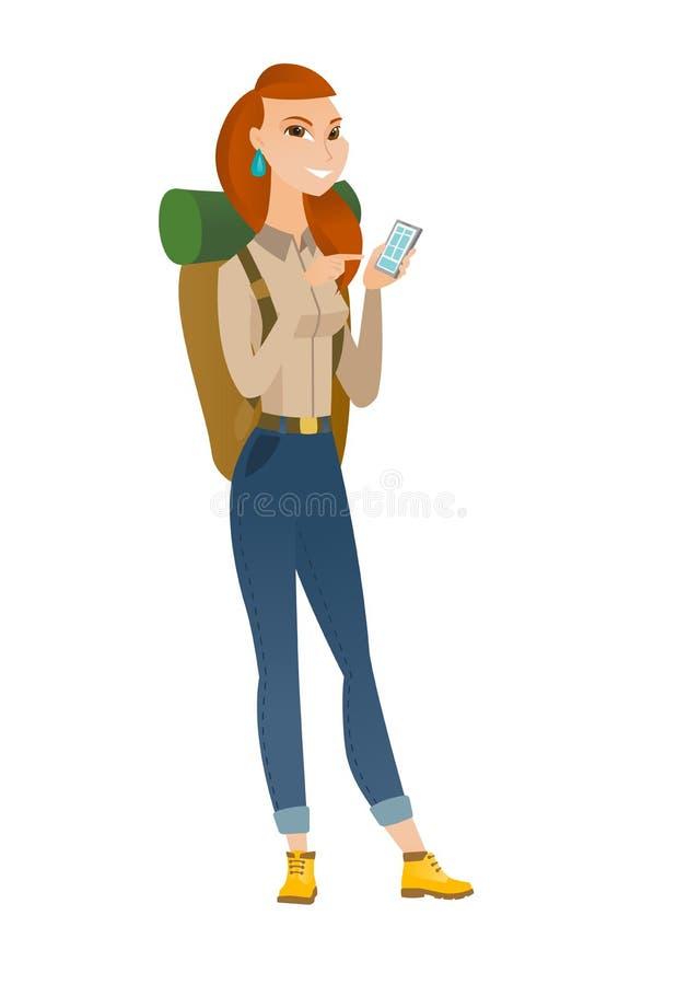 Viajante caucasiano que guarda um telefone celular ilustração stock