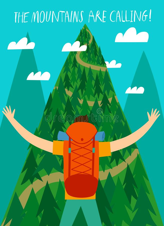Viajante com uma grande trouxa que olha a montanha ilustração royalty free