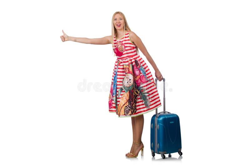 Viajante da mulher com mala de viagem fotografia de stock royalty free