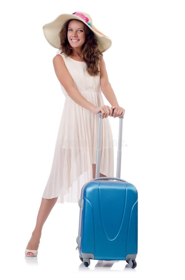 Viajante da mulher com a mala de viagem isolada imagem de stock