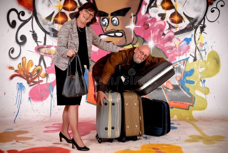 Viajante de bilhete mensal dos pares, grafitti urbano fotografia de stock