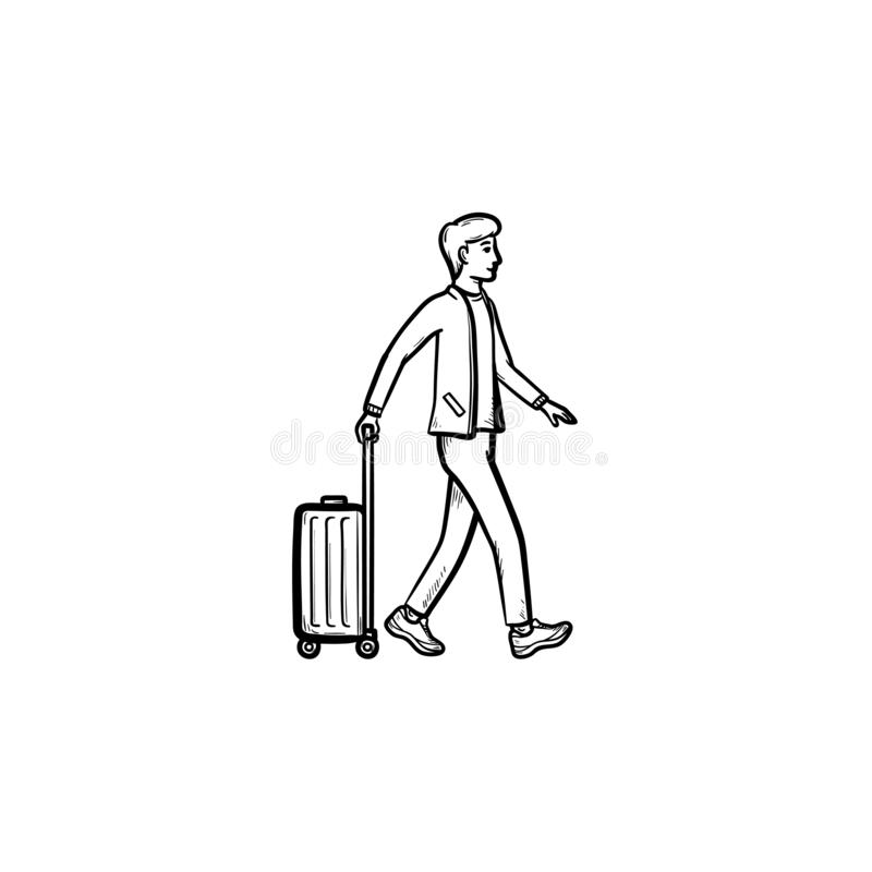 Viajante de negócios que anda com ícone tirado mão da garatuja do esboço da mala de viagem ilustração stock