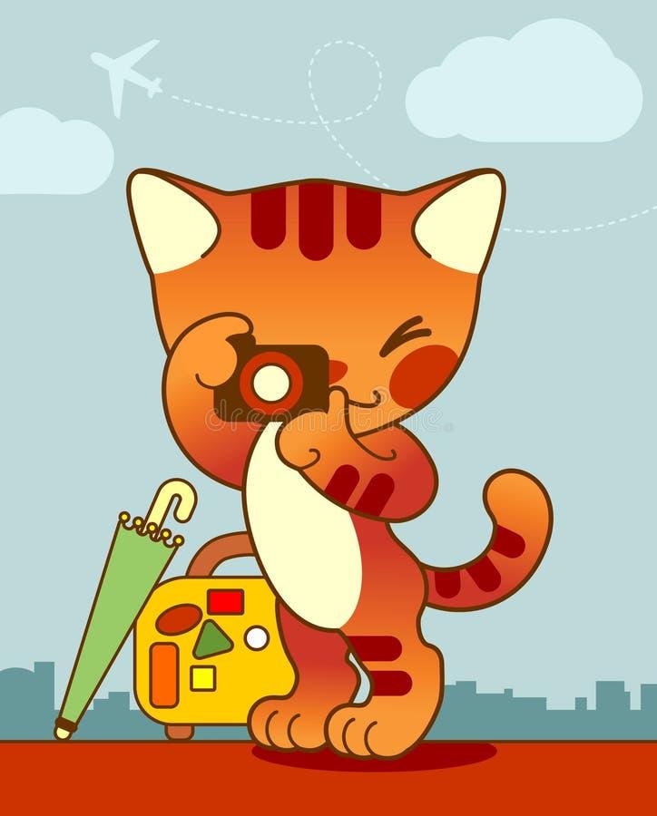 Viajante do gato ilustração do vetor