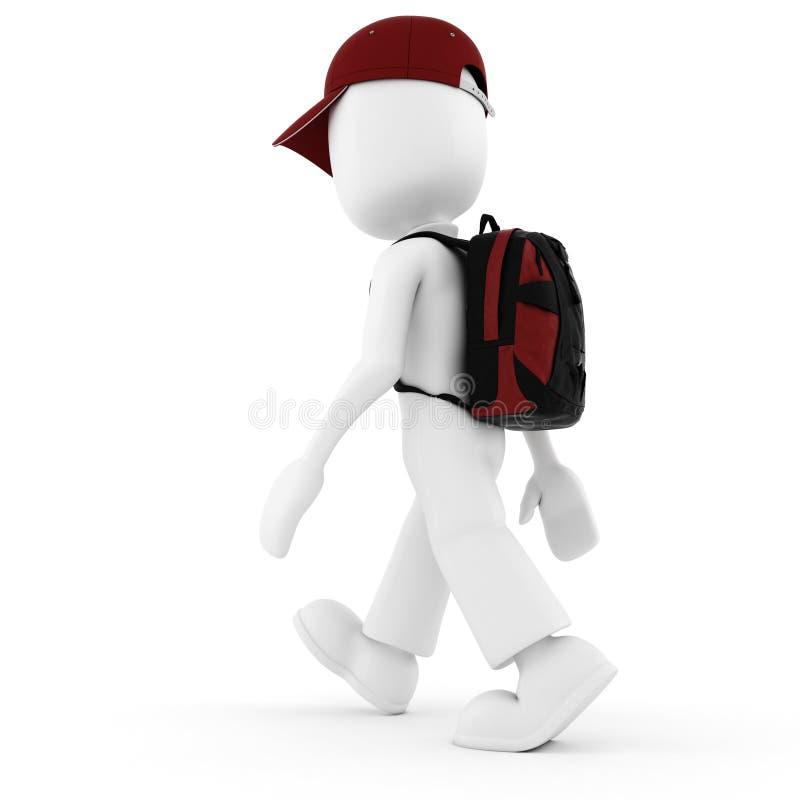 viajante do homem 3d, nas férias, isoladas no branco ilustração royalty free