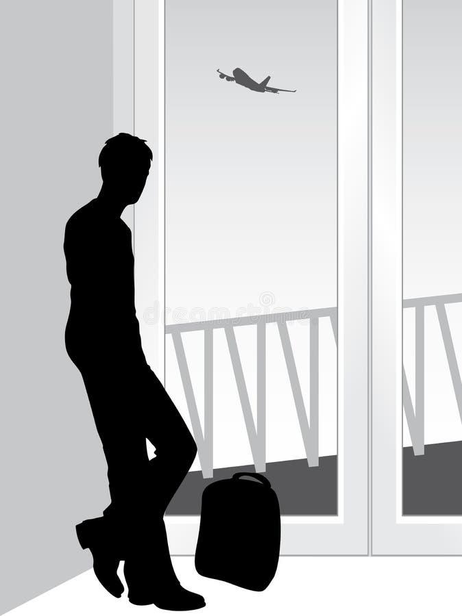 Viajante em antecipação a aterrar o avião ilustração stock