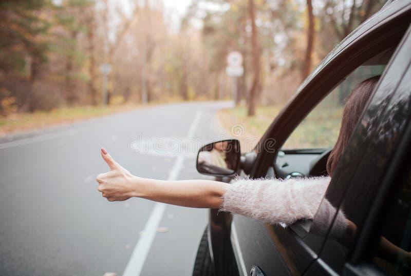 Viajante fêmea na estrada que mantém os polegares Férias da queda, feriados, curso, viagem por estrada e conceito dos povos Fim a fotografia de stock