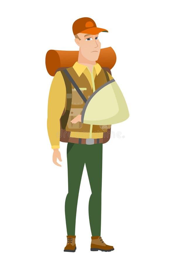 Viajante ferido com braço quebrado ilustração stock