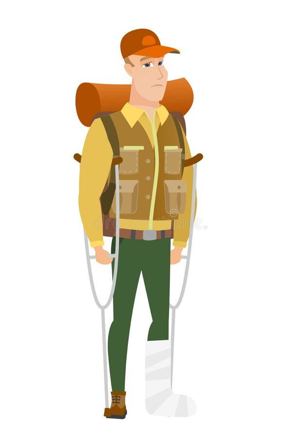 Viajante ferido com pé quebrado ilustração stock