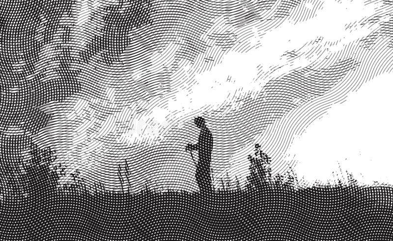 Viajante - gravura a água-forte ilustração do vetor