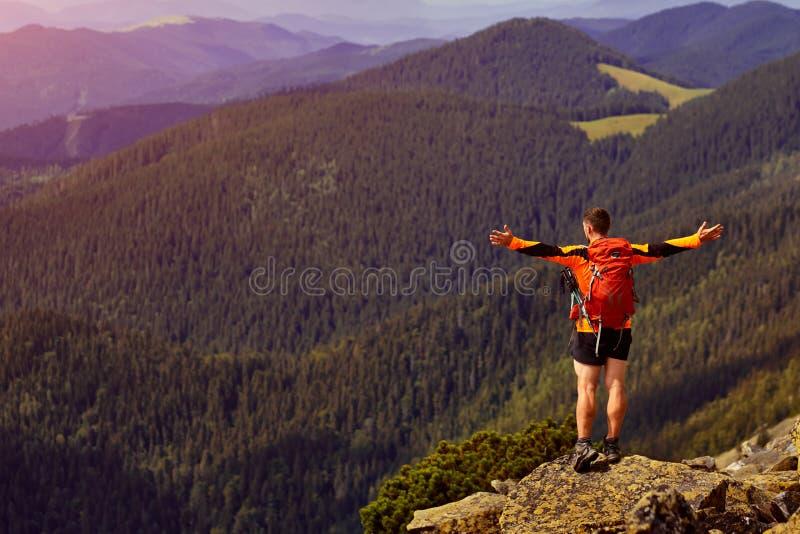 Viajante masculino da parte traseira nas montanhas imagens de stock