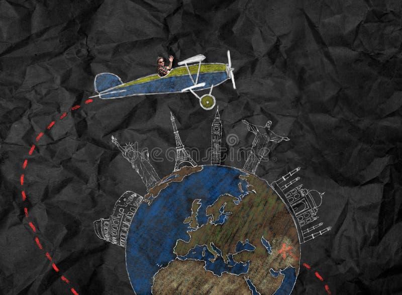 Viajante no voo plano retro em todo o mundo fotografia de stock