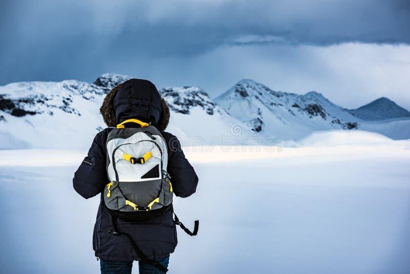Viajante que aprecia a paisagem do inverno fotos de stock