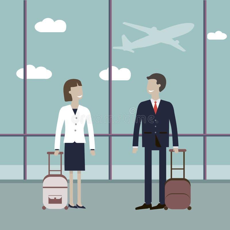Viajantes de negócios no aeroporto ilustração royalty free