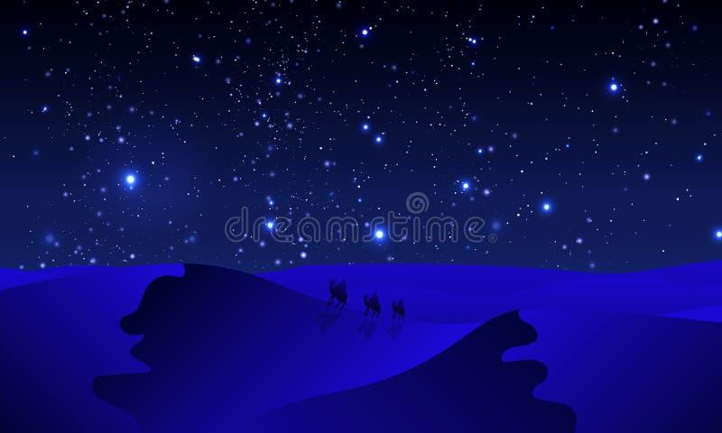 Viajantes no deserto do azul da noite ilustração do vetor
