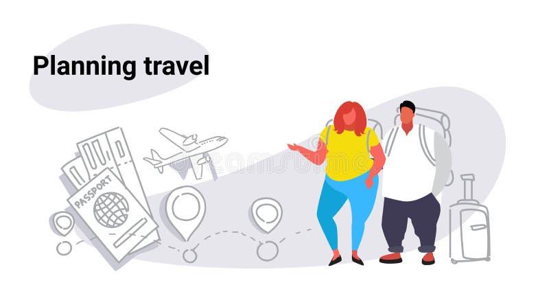 Viajantes obesos gordos da mulher do homem que estão junto povos planejando do conceito do curso dos pares excessos de peso com e ilustração royalty free