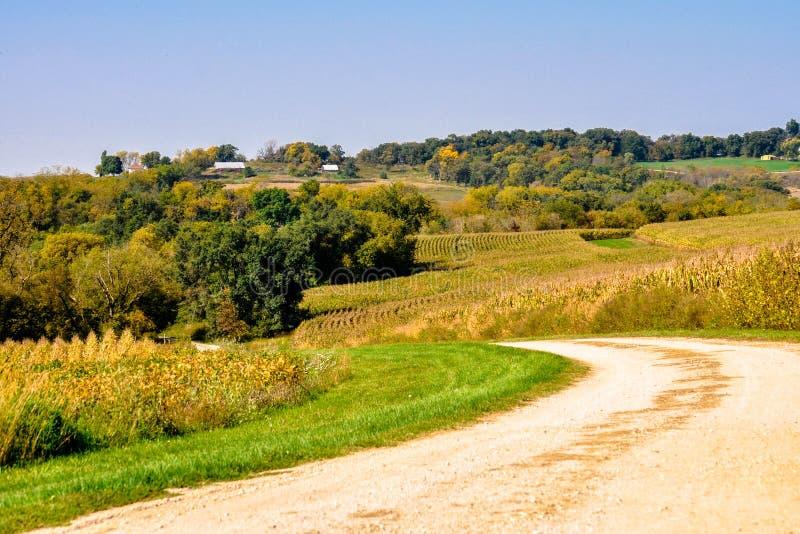 Viajar a las carreteras nacionales de Iowas fotografía de archivo