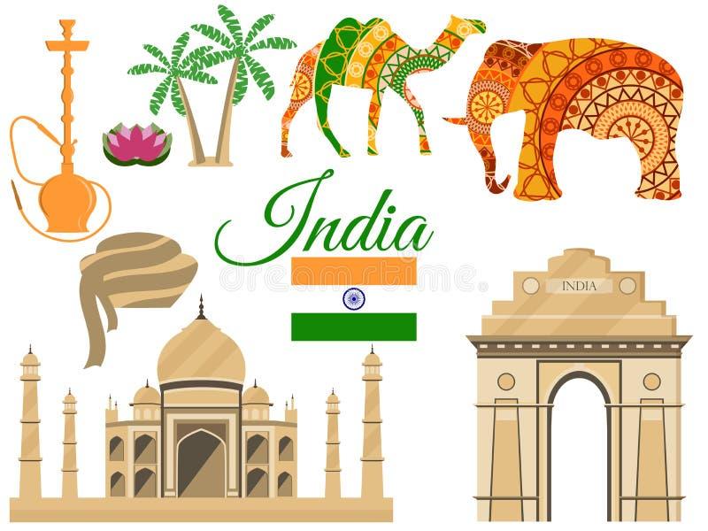 Viaje à Índia, símbolos tradicionais das Índias, atrações dos ícones ilustração royalty free
