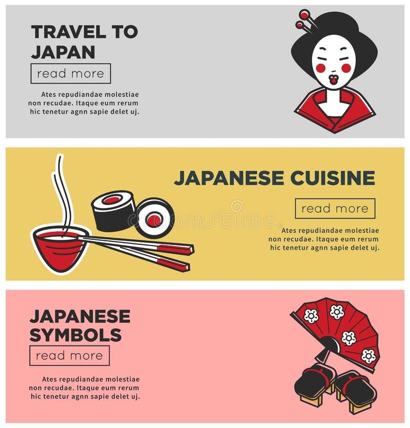 Viaje às bandeiras relativas à promoção do Internet de Japão com símbolos do país ilustração stock