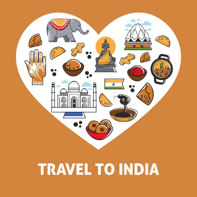 Viaje al cartel del corazón del vector de la India libre illustration