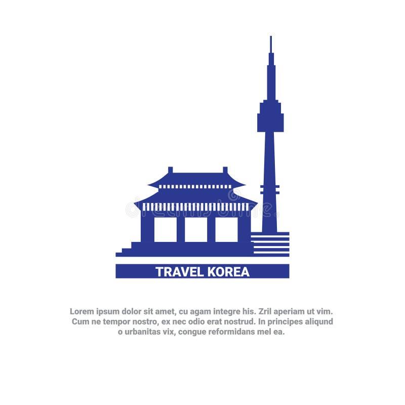 Viaje al icono de la silueta de las señales de Seul del cartel de Corea libre illustration