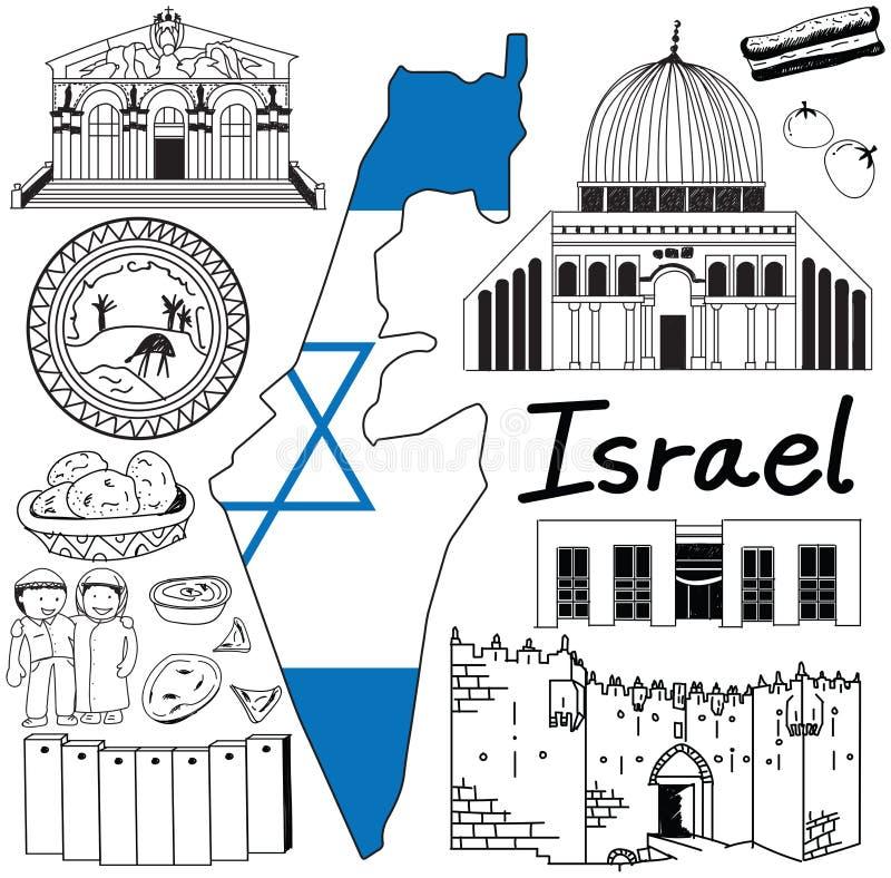 Viaje al icono del dibujo del garabato de Israel con concepto amistoso del turismo de Palestina ilustración del vector