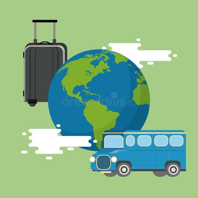 Viaje alrededor del mundo, concepto de las vacaciones ilustración del vector