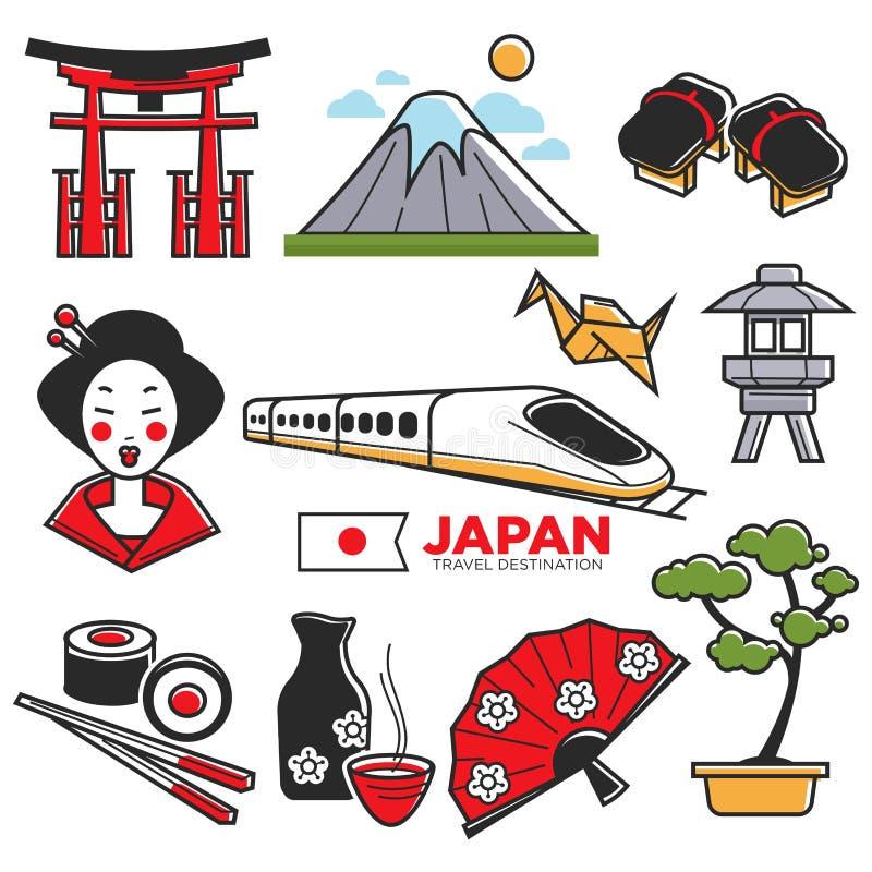 Viaje ao mapa turístico de Japão com atributos tradicionais ilustração royalty free