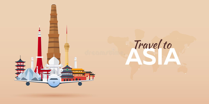 Viaje a Asia Aeroplano con las atracciones Banderas del recorrido Estilo plano ilustración del vector