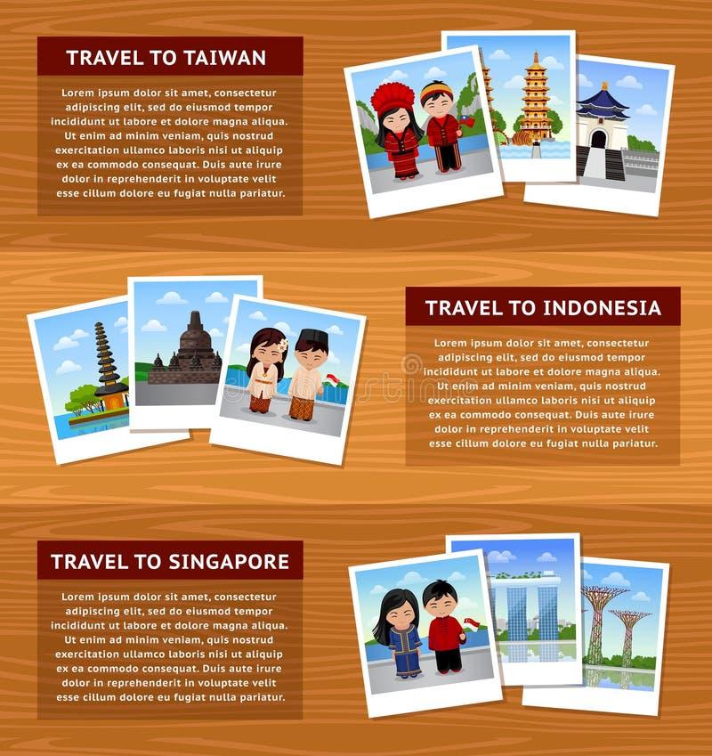 Viaje a Asia Sistema de banderas horizontales del web con el lugar para el texto ilustración del vector