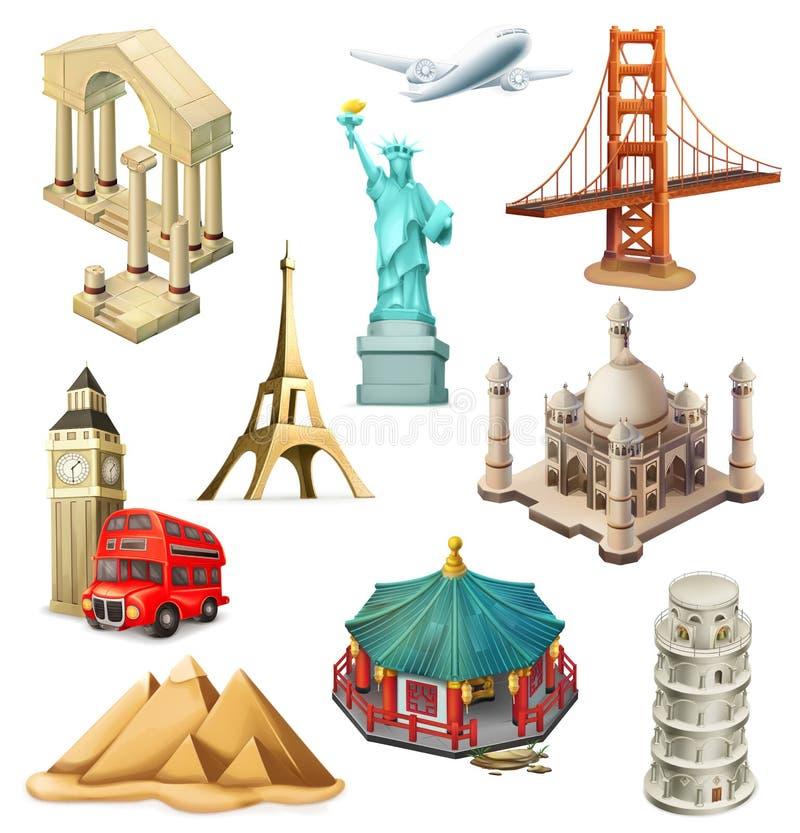 Viaje, atracción turística Sistema del icono del vector stock de ilustración