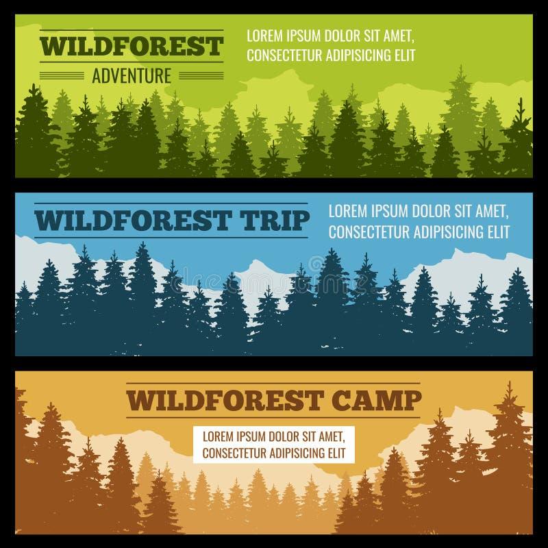 Viaje, banderas del vector que acampan fijadas con las siluetas del árbol de pino ilustración del vector