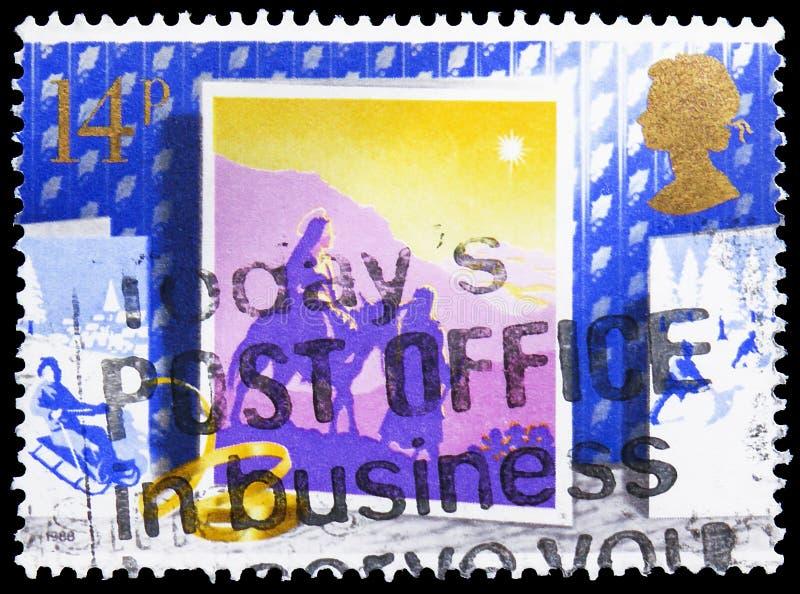 Viaje a Belén, la Navidad 1988 - serie de las tarjetas de Navidad, circa 1988 fotografía de archivo libre de regalías