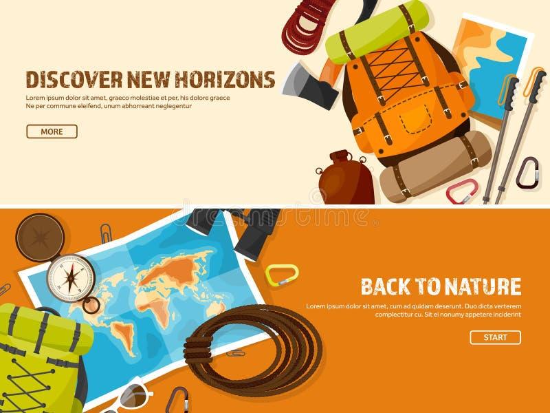 Viaje, caminando el fondo Escalada El turismo internacional, viaje a la naturaleza, en todo el mundo viaja Verano libre illustration