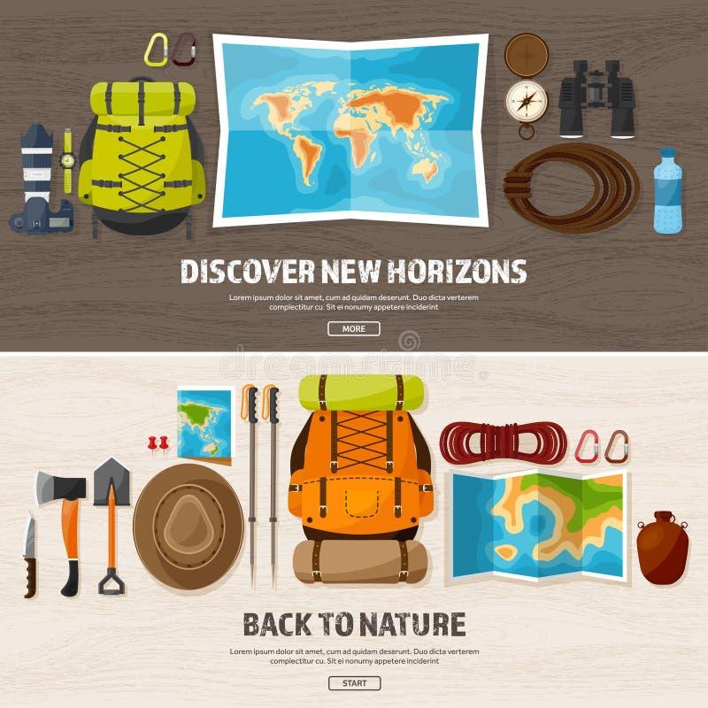 Viaje, caminando el fondo Escalada El turismo internacional, viaje a la naturaleza, en todo el mundo viaja Verano stock de ilustración