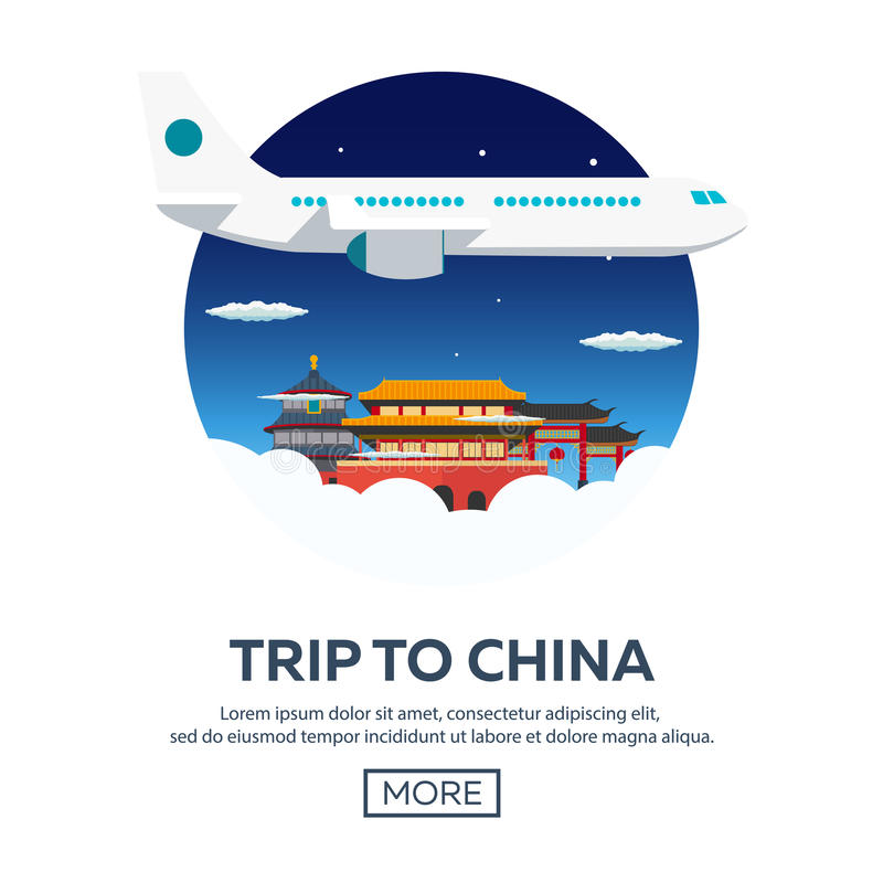 Viaje a China, Pekín Turismo Ejemplo que viaja Diseño plano moderno Viaje en aeroplano, vacaciones, aventura, viaje libre illustration