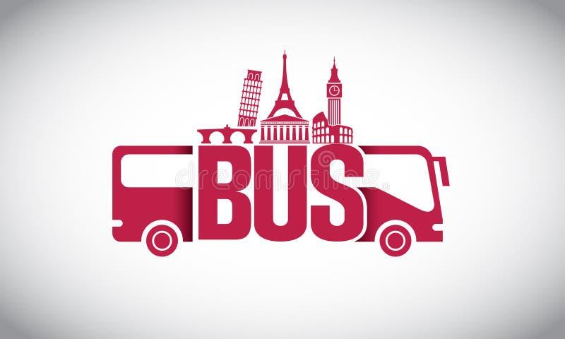 Viaje con el logotipo del autobús imagen de archivo libre de regalías