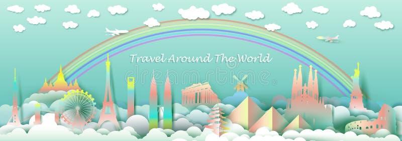 Viaje con el top de las señales del país famoso de los monumentos libre illustration