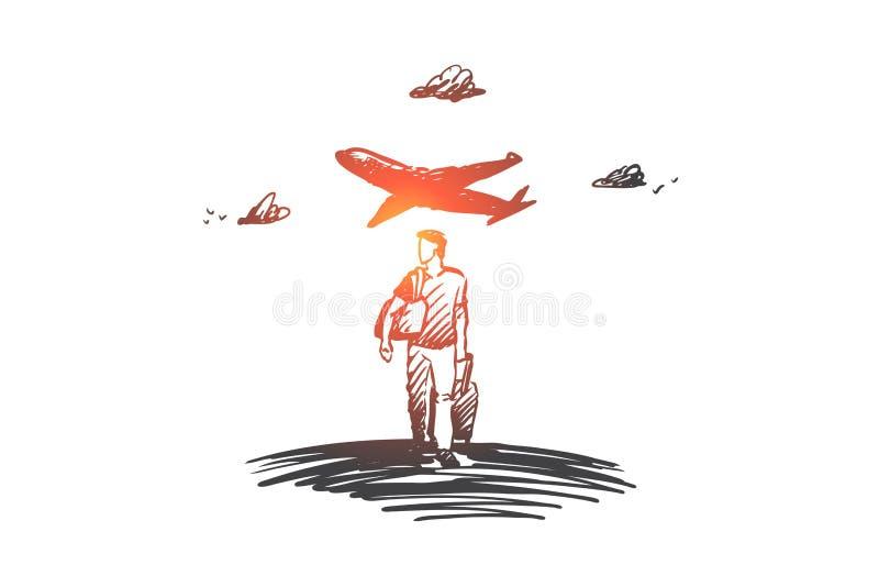 Viaje, día de fiesta, viaje de negocios, concepto de las vacaciones Vector aislado dibujado mano libre illustration