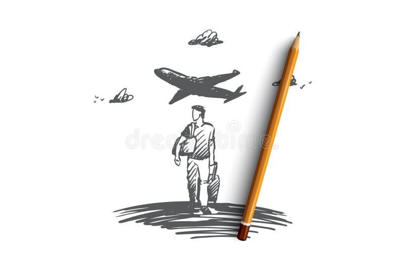 Viaje, día de fiesta, viaje de negocios, concepto de las vacaciones Vector aislado dibujado mano ilustración del vector