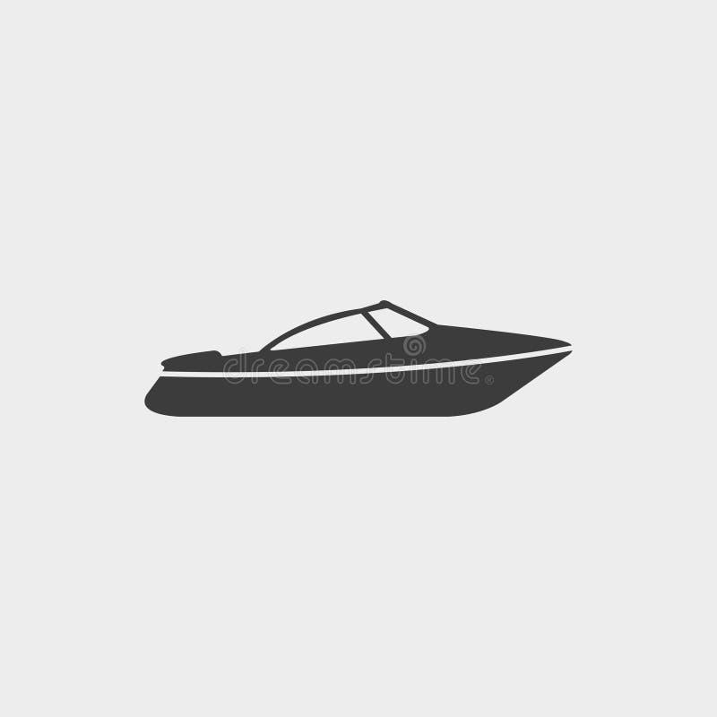 Viaje de automóvel o ícone do barco da velocidade em um projeto liso na cor preta Ilustração EPS10 do vetor ilustração do vetor