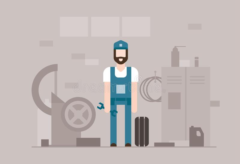 Viaje de automóvel o mecânico no trabalho - ilustração lisa moderna do estilo do projeto ilustração do vetor