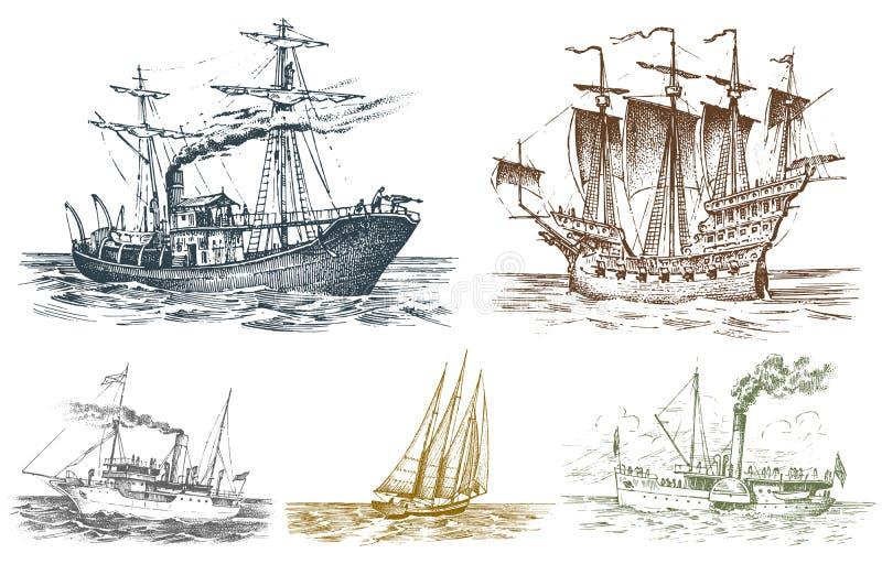 Viaje de automóvel o navio no mar, aventura do verão, férias ativas Embarcação com fumo da tubulação, vela náutica do vapor ilustração stock