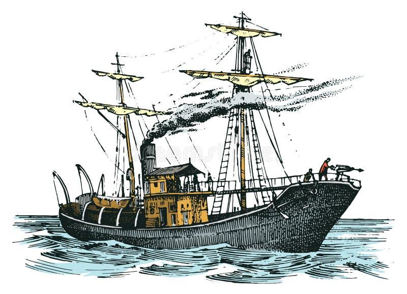 Viaje de automóvel o navio no mar, aventura do verão, férias ativas Embarcação com fumo do vapor da tubulação, náutica ilustração stock