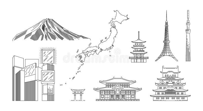 Viaje de Jap?n infographic Lugares y se?ales del viaje del vector stock de ilustración