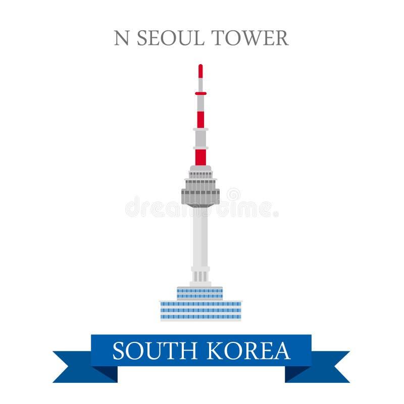 Viaje de la atracción del vector de las señales de la Corea del Sur de la torre de N Seul ilustración del vector