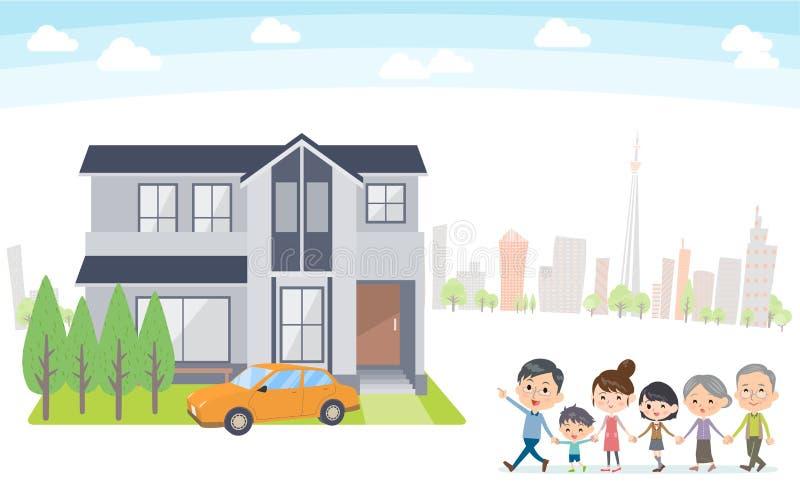 Viaje de la casa de las generaciones de la familia 3 en la parte posterior del blanco de la ciudad libre illustration