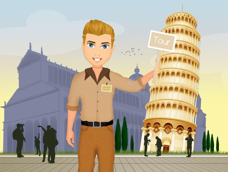 Viaje de la guía en Pisa ilustración del vector