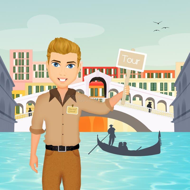 Viaje de la guía en Venecia ilustración del vector