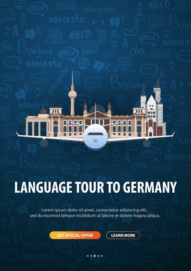 Viaje de la lengua, viaje, viaje a Alemania Aprendizaje de idiomas Ejemplo del vector con los elementos del garabato del mano-dre libre illustration
